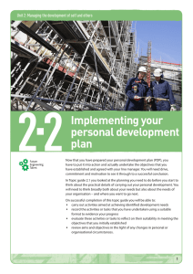 Topic guide 2.2: Implementing your personal development plan