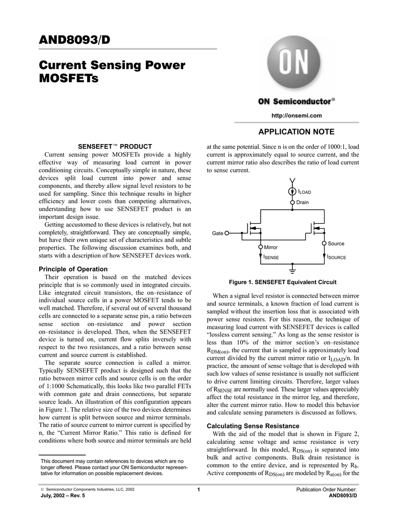 And8093 D Current Sensing Power Mosfets Figure 81 First Mosfet Test Circuit