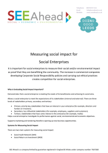Measuring social impact for Social Enterprises