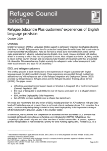 Refugee Jobcentre Plus customers` experiences of English