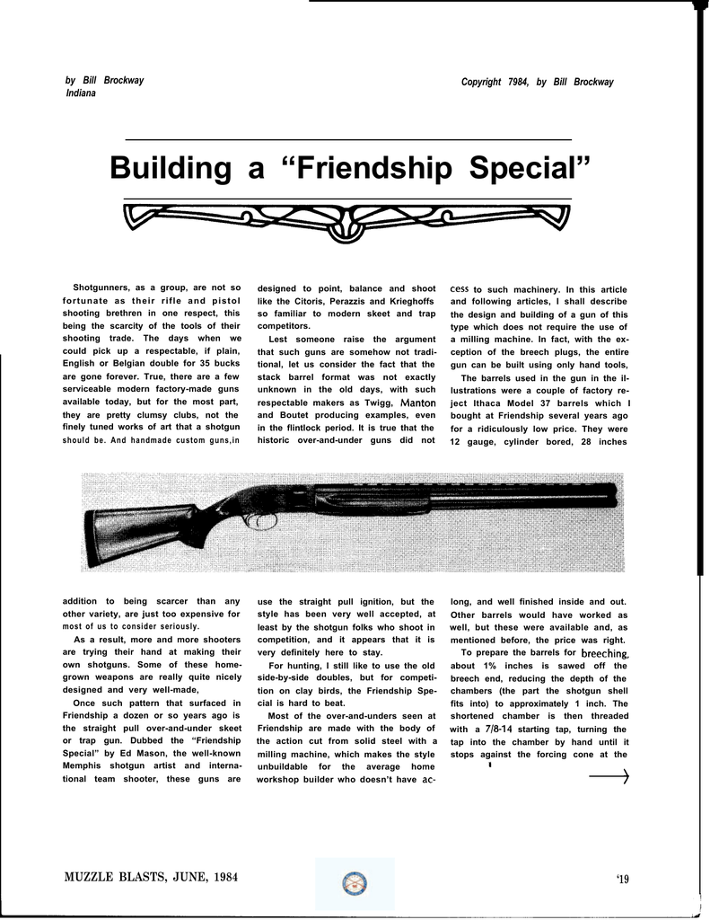 "Building a ""Friendship Special"" - National Muzzle Loading Rifle"