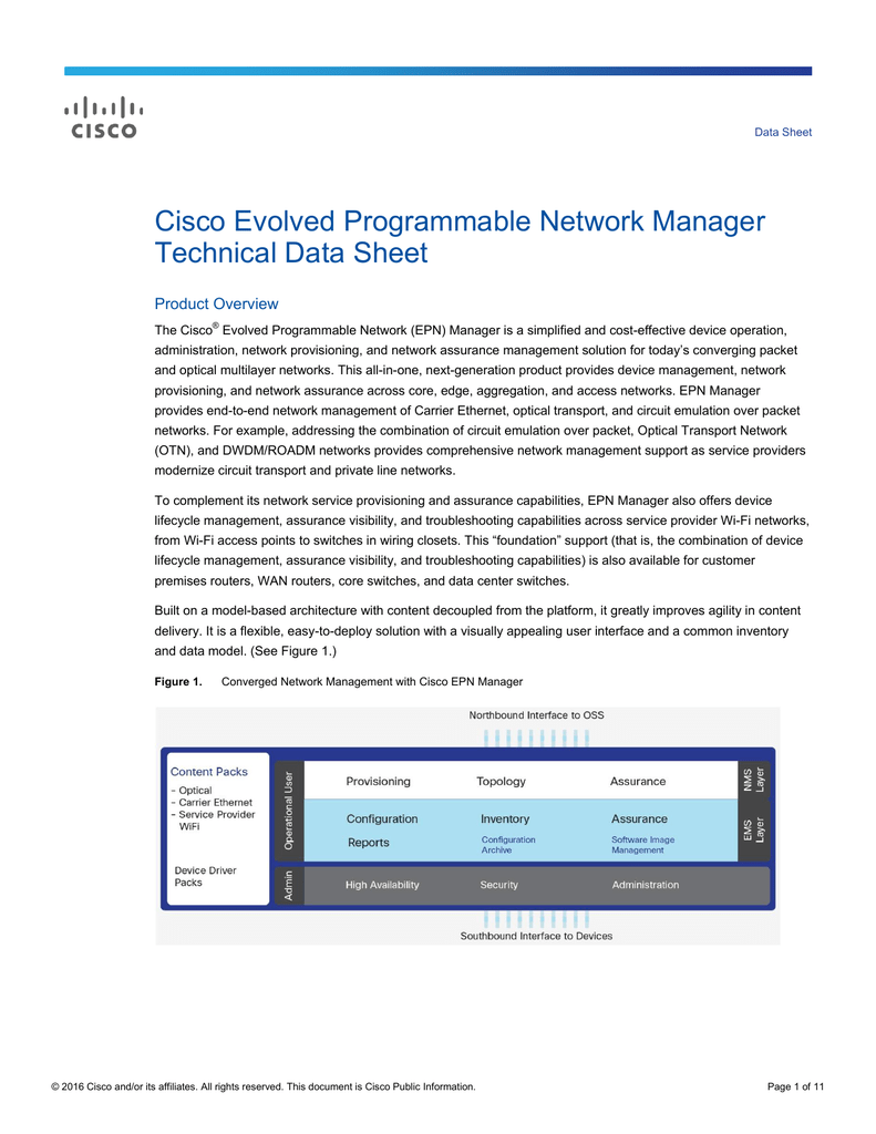 Cisco Evolved Programmable Network Manager Technical