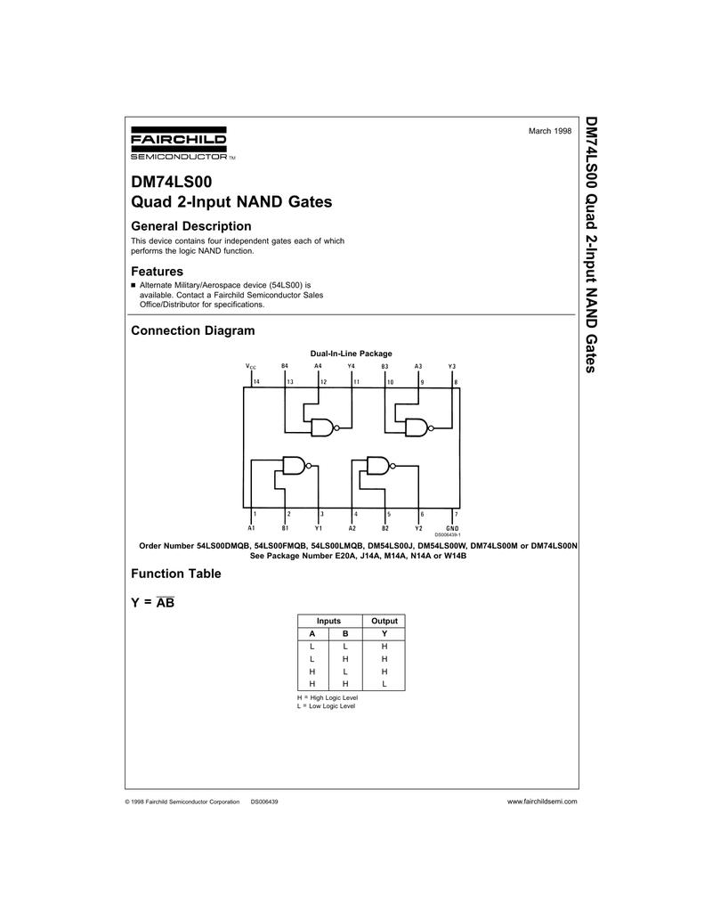 Dm74ls00 Quad 2 Input Nand Gates Logic Diagram Of Gate