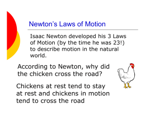 N t ` L f M ti Newton`s Laws of Motion