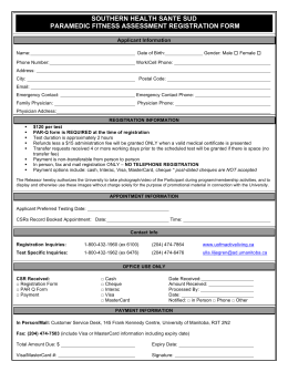 Paramedic Physical Fitness Assessment Registration Form