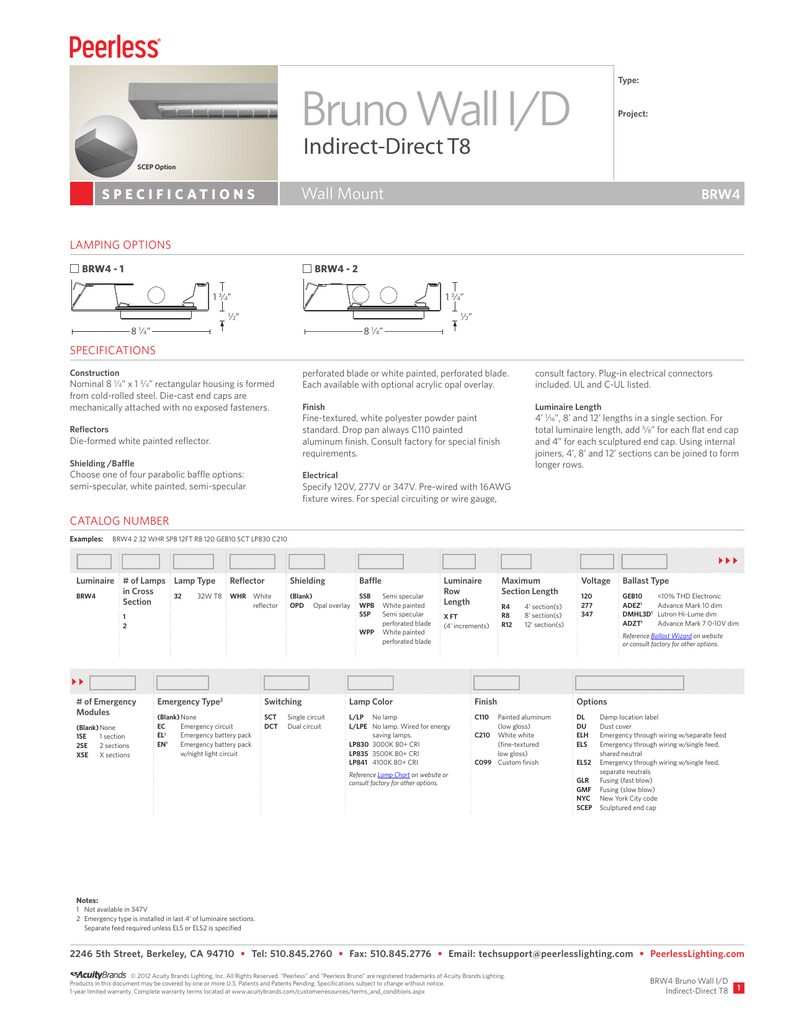 BRW4 Bruno Wall I/D Indirect-Direct T8 Spec Sheet