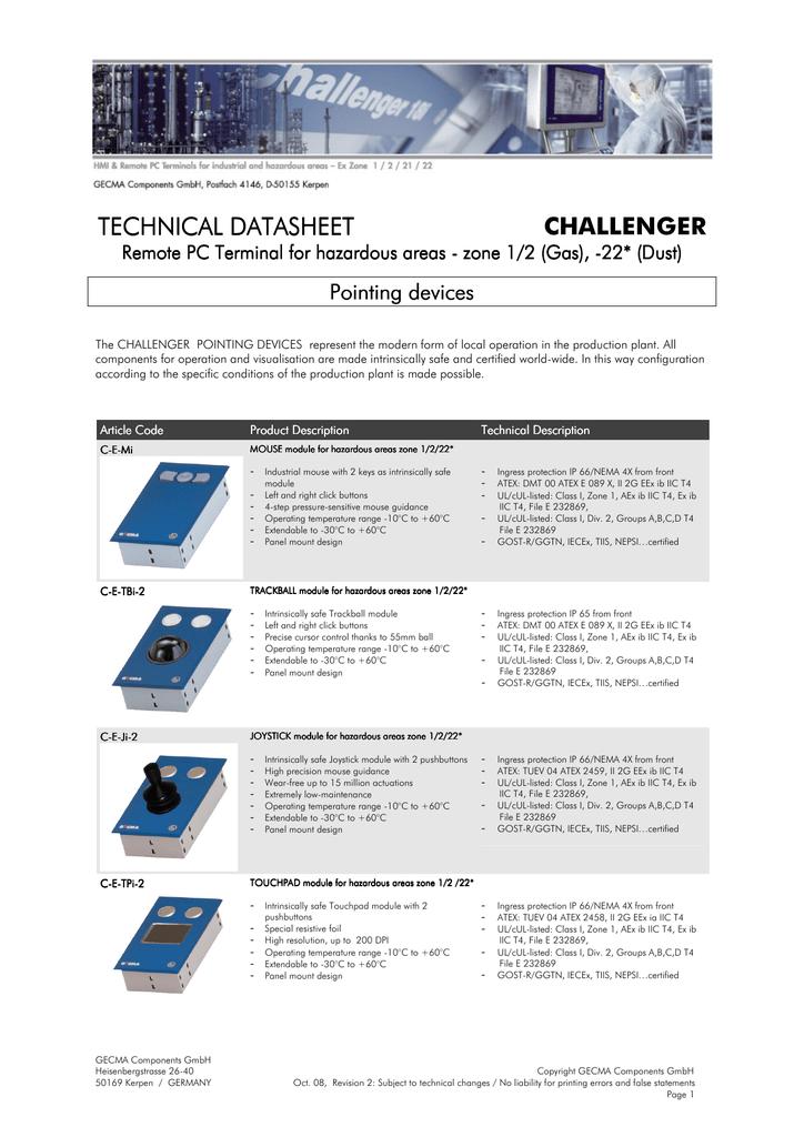 technical datasheet technical datasheet challenger