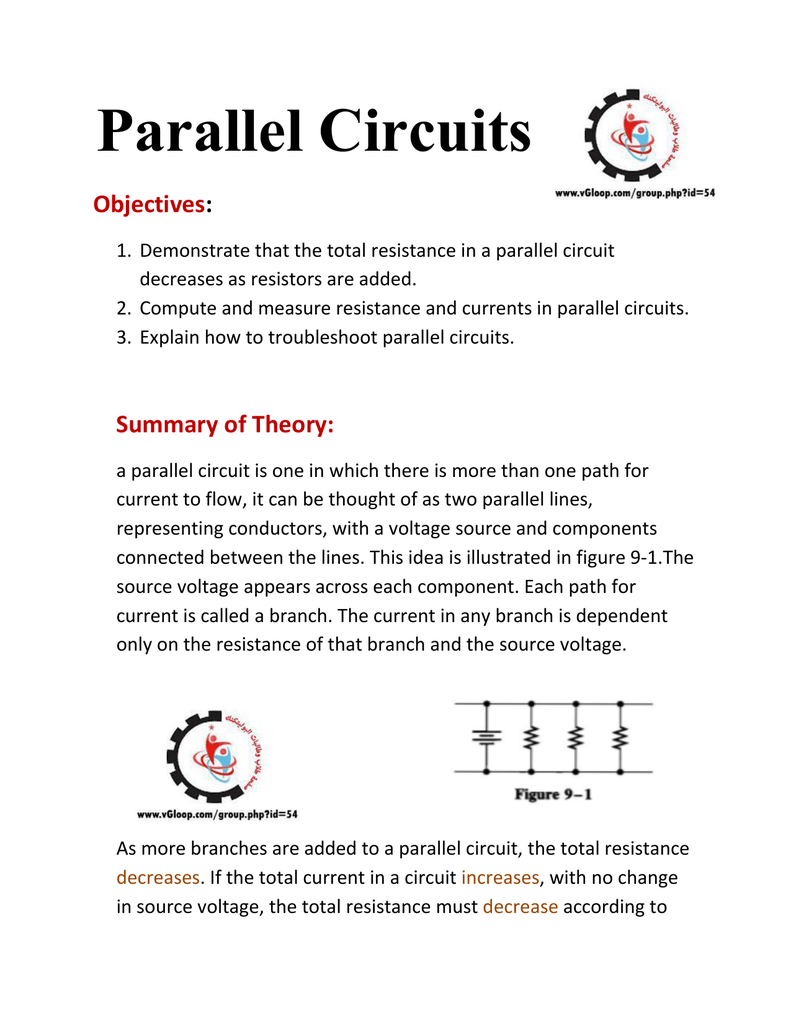 Document Resistance In A Parallel Circuit