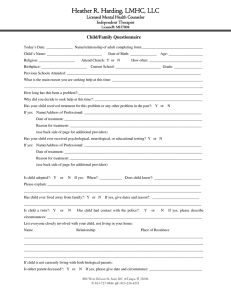Child/Family Questionnaire