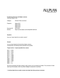 Transferring data from old Allplan versions Technical Support FAQ
