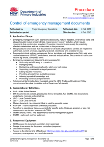 Procedure - Control of emergency management documents version 2