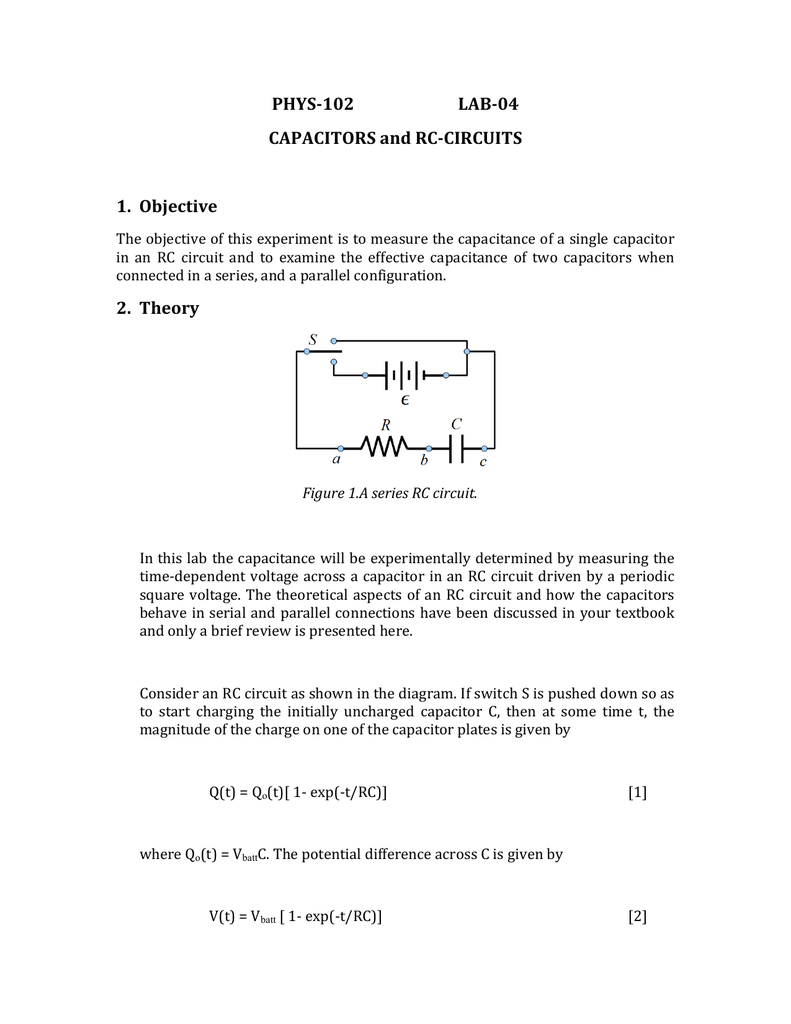 Phys 102 Lab 04 Capacitors And Rc Circuits 1 Capacitor Charge Circuit