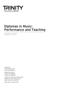 Diplomas in Music: Performance and Teaching