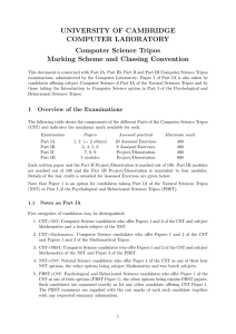 Computer Science Tripos Marking Scheme and Classing Convention