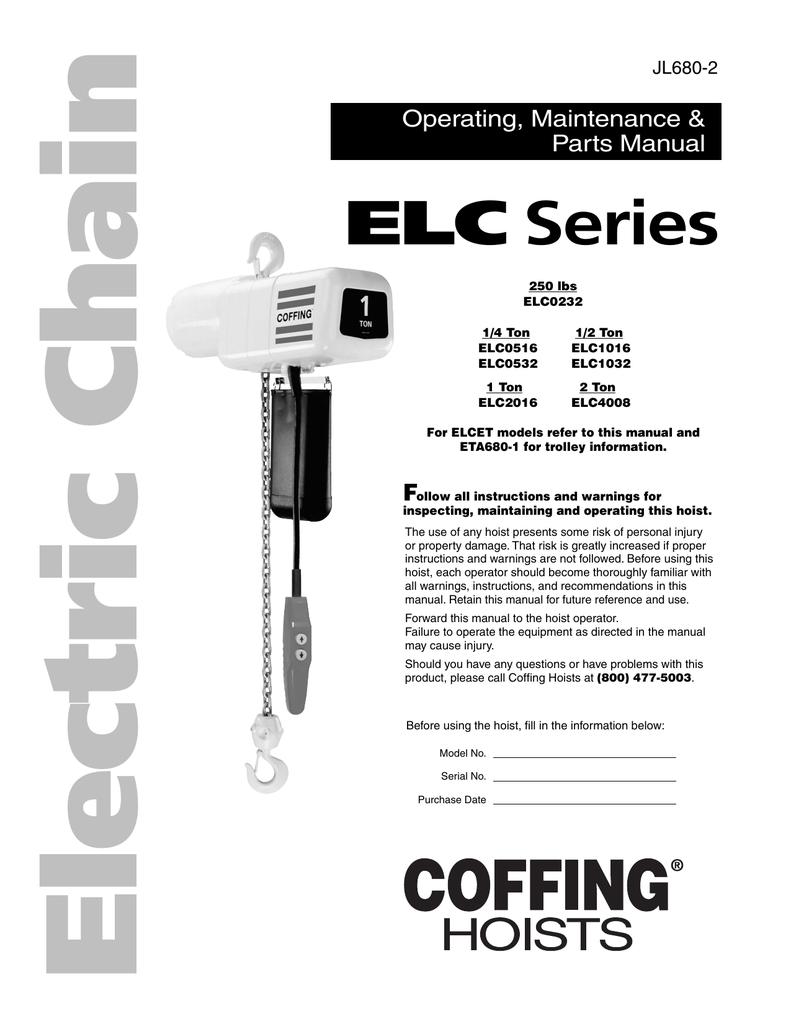 Electric Chain Hoist Elc Series 1 Ton Cm Wiring Diagram