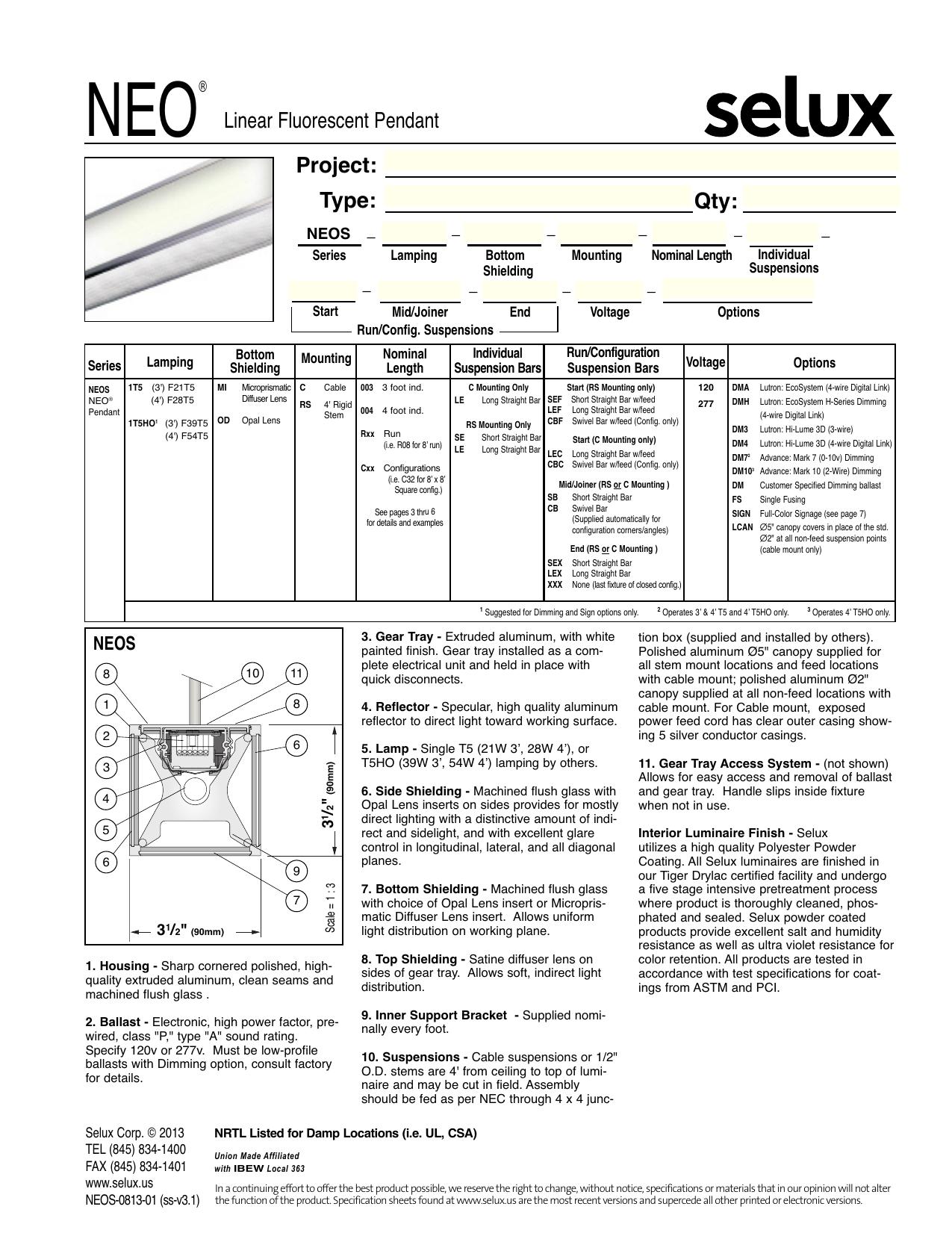 Neo Pendant Neos Seluxus F21t5 Ballast T5 Electronic Fluorescent 1 Or 2 Lamp 120v 277v 21w