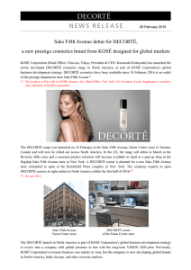 Saks Fifth Avenue debut for DECORTÉ, a new prestige cosmetics