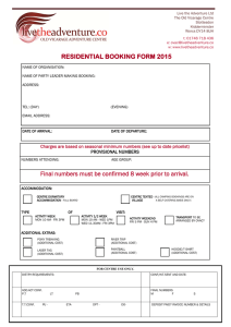 RESIDENTIAL BOOKING FORM 2015 Final