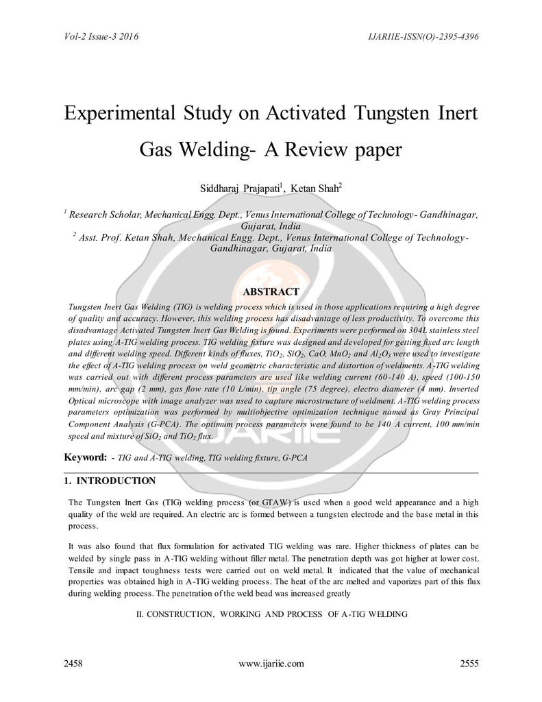 Experimental Study On Activated Tungsten Inert Gas Welding Diagram Of Process