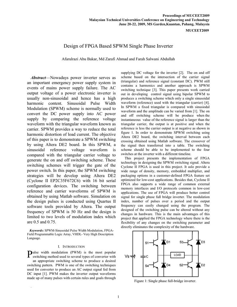 Design of FPGA Based SPWM Single Phase Inverter