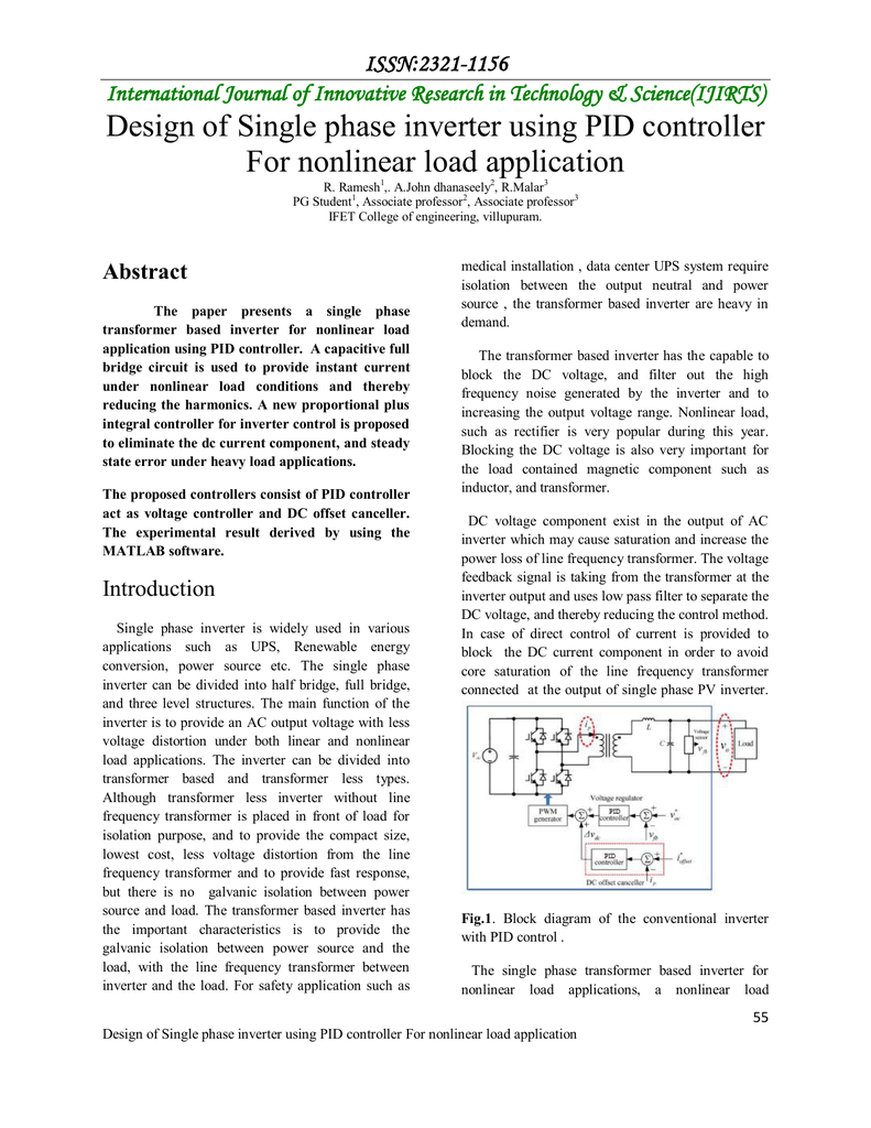 Design Of Single Phase Inverter Using Pid Controller For Nonlinear Transformer Software Analysis And Rectifier Circuit