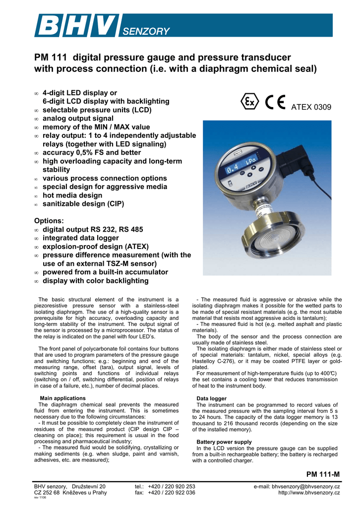 PM 111 digital pressure gauge and pressure transducer with