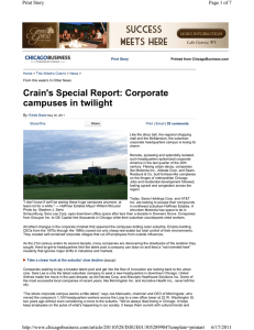 Crain`s Special Report: Corporate campuses in twilight