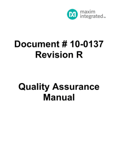 Document # 10-0137 Revision R Quality Assurance Manual