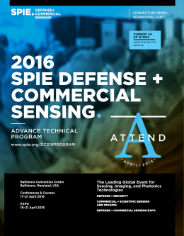 2016 SPIE DEFENSE + COMMERCIAL SENSING•