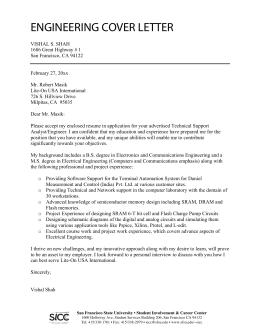 ENGINEERING COVER LETTER - San Francisco State University