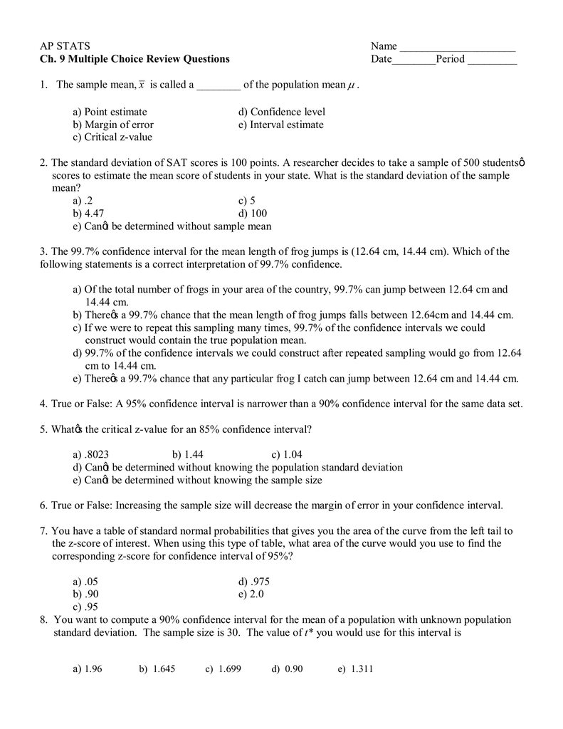 Ap Stats Name Ch 9 Multiple Choice Review Questions How To Find Standard  Deviation Ap Stats