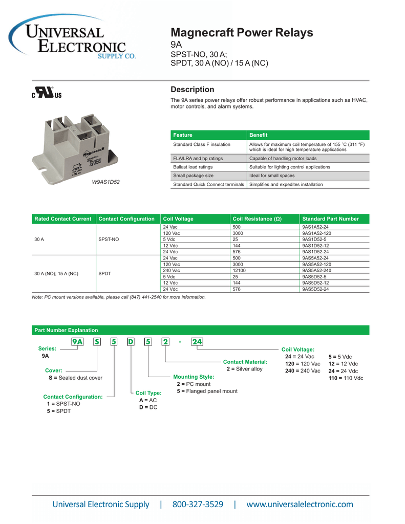 View the PDF Datasheet for Magnecraft 9A Series Magnecraft Relay Wiring Diagram Volt To on