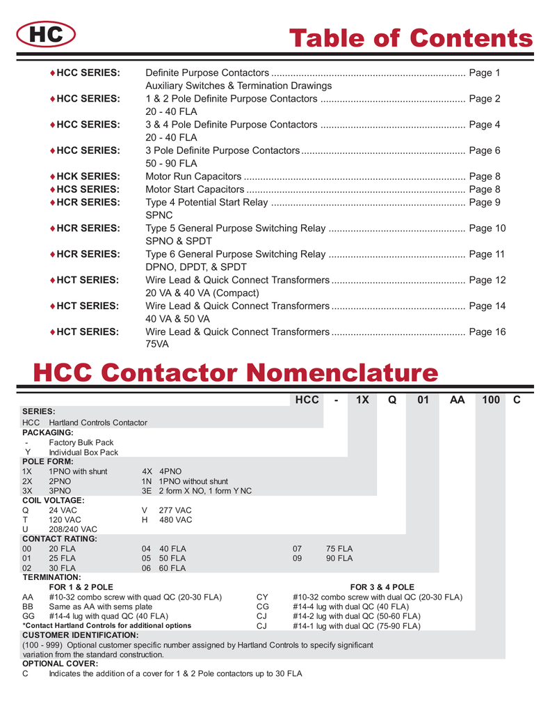 HARTLAND CONTROLS HCC-1XT04GG 1 POLE 40 AMP CONTACTOR WITH SHUNT COIL:120VAC