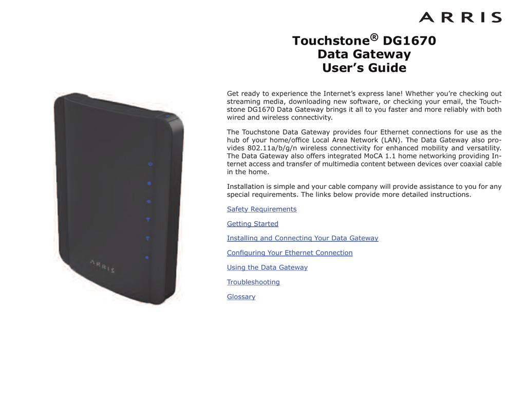 Touchstone TG1670A Data Gateway User`s Guide
