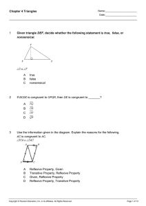 Chapter 4 Triangles 1 Given triangle DEF, decide