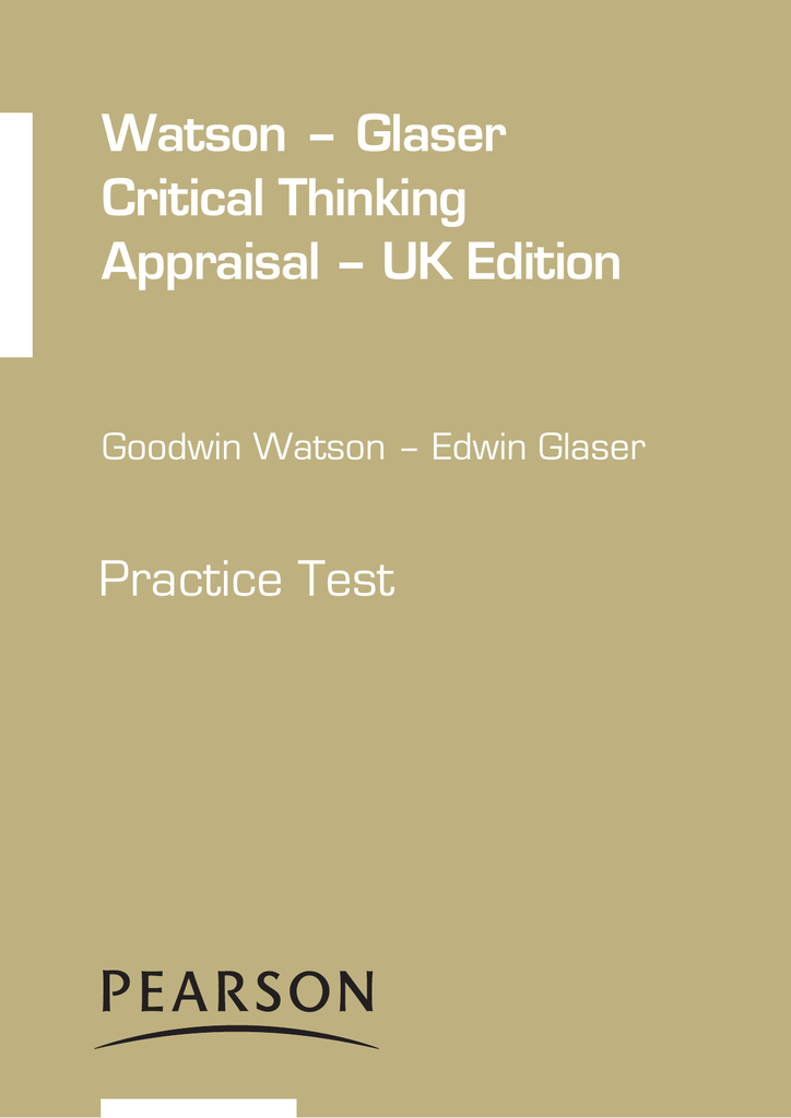 watson and glaser critical thinking