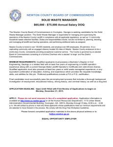 NEWTON COUNTY BOARD OF COMMISSIONERS SOLID WASTE