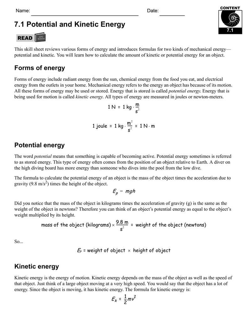 Worksheets Energy Worksheet Answers worksheet kinetic and potential energy worksheets mytourvn 7 1 energy