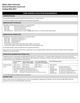 Gen Ed Requirement Sheet