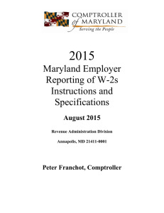Maryland Employer Reporting of W-2s Instructions and Specifications