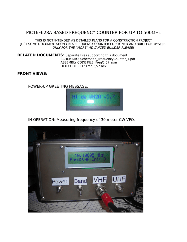 Pic16f628a Based Frequency Counter For Up Frequencycounterschematic1
