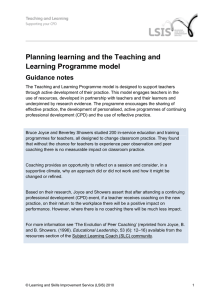 Planning learning and the Teaching and Learning