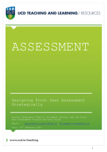 Designing First Year Assessment Strategically