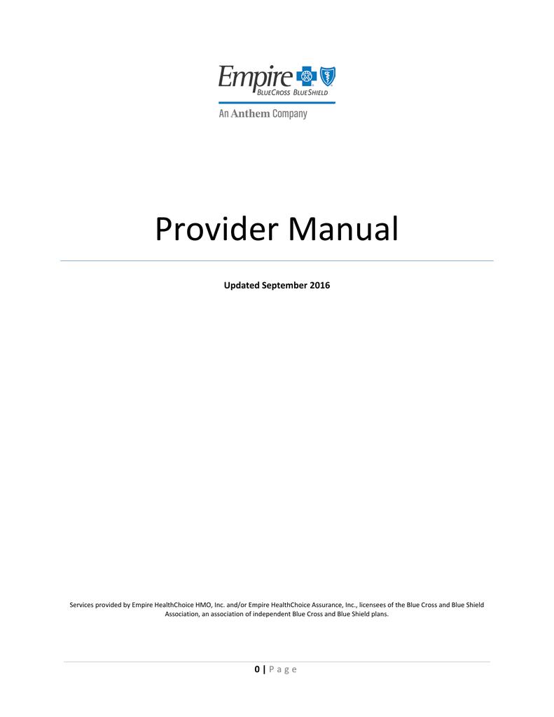 Empire Provider Manual - Empire Blue Cross Blue Shield