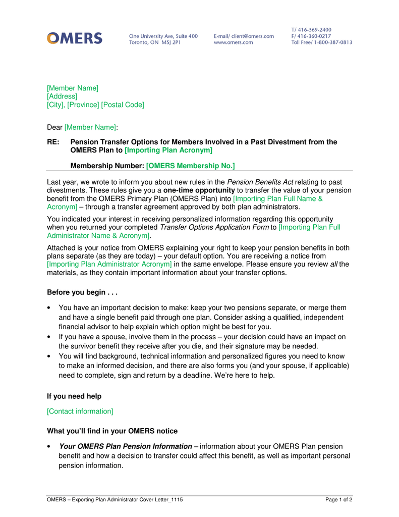 Exporting Plan notice for retired members in the original and