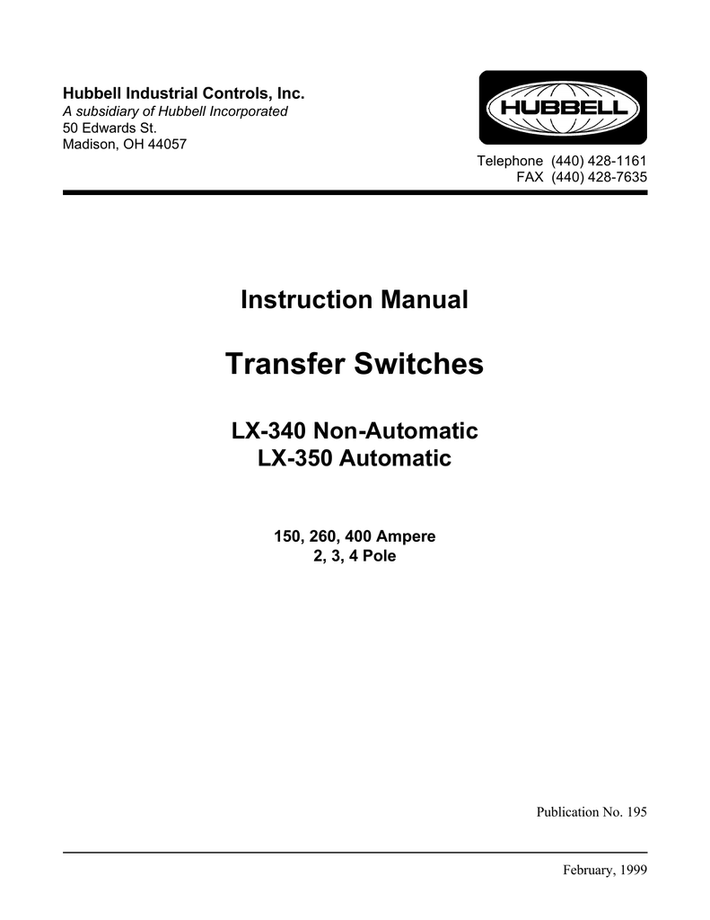 Transfer Switches Hubbell Industrial Controls The Polarity Control Relay Is Switched Off When Q1 Covered By