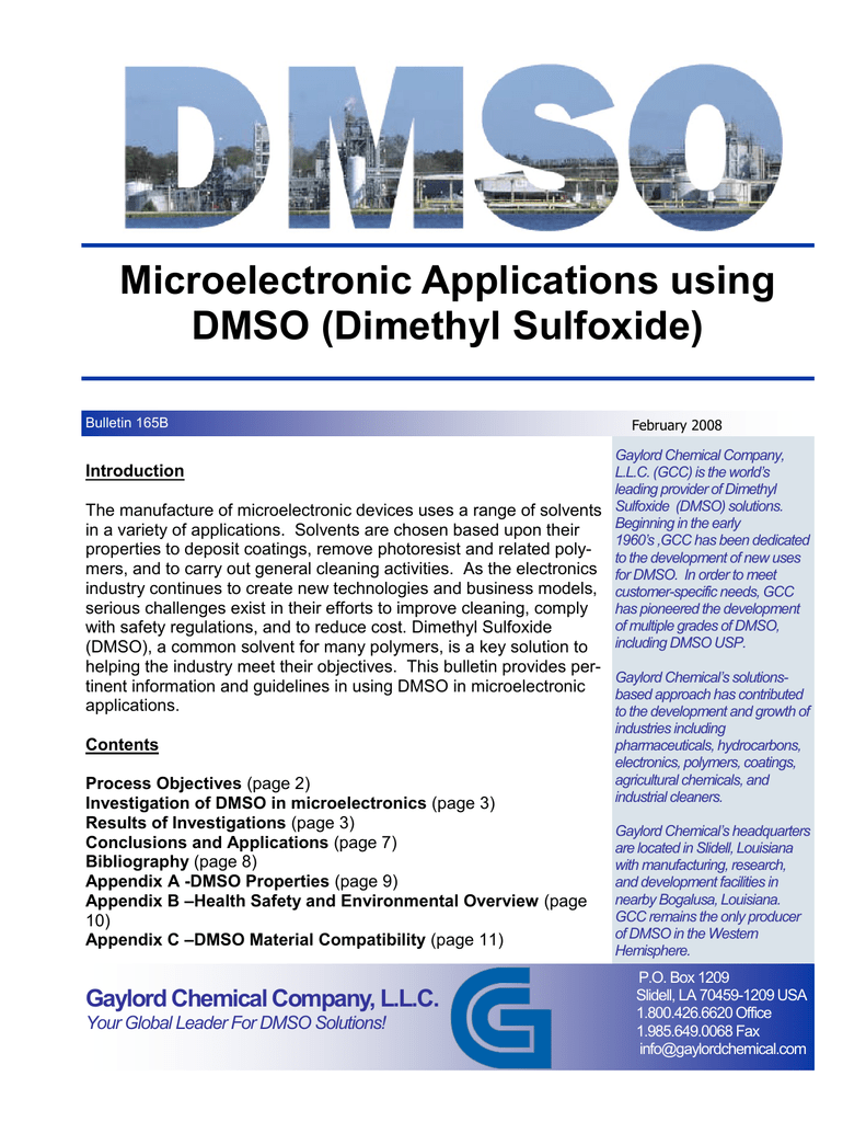 Microelectronic Applications using DMSO (Dimethyl Sulfoxide)