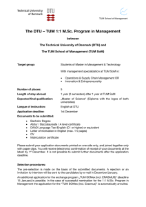 The DTU – TUM 1:1 M.Sc. Program in Management