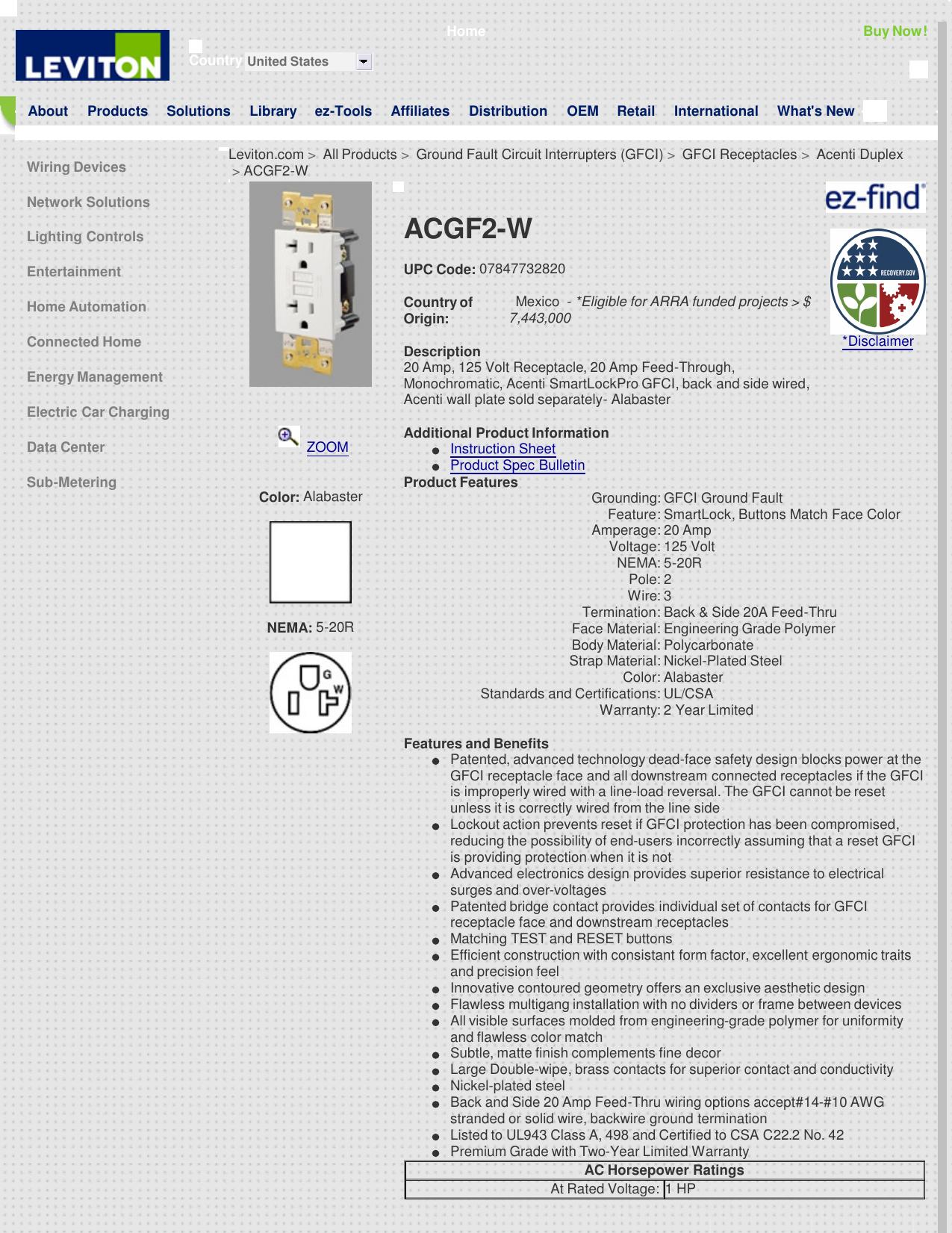 ACGF2-W > Acenti Duplex > GFCI Receptacles on