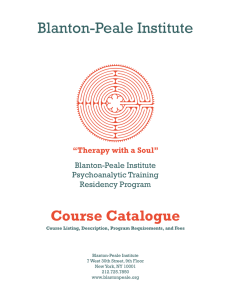 Psychoanalytic Training Course Catalog - Blanton